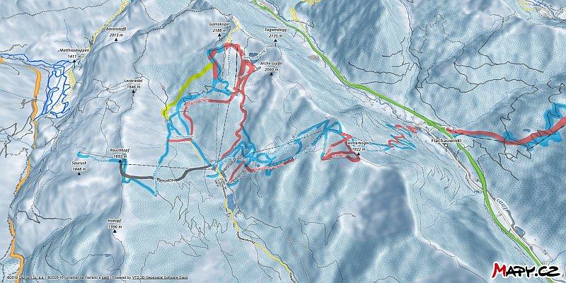 3D zimní mapa lyžařské oblasti Zauchensee - Flachauwinkl