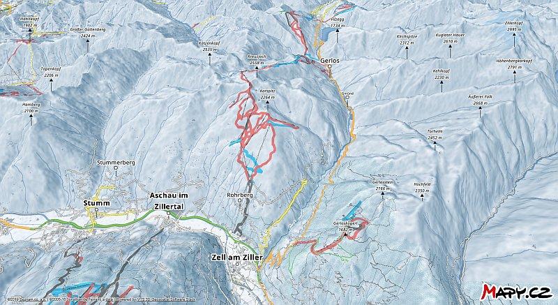 3D zimní mapa lyžařské oblasti Zell am Ziller