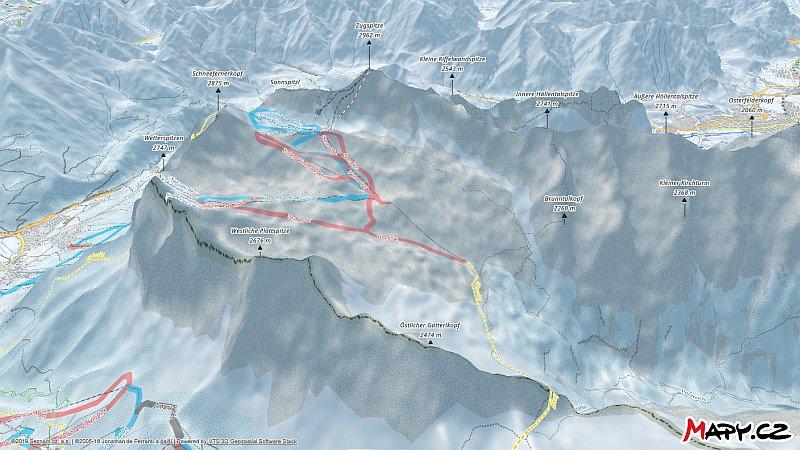 3D zimní mapa lyžařské oblasti Zugspitze