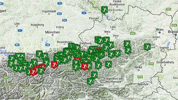 Mapa Skiarealu Mapa Polohy Rakouskych Lyzarskych Stredisek