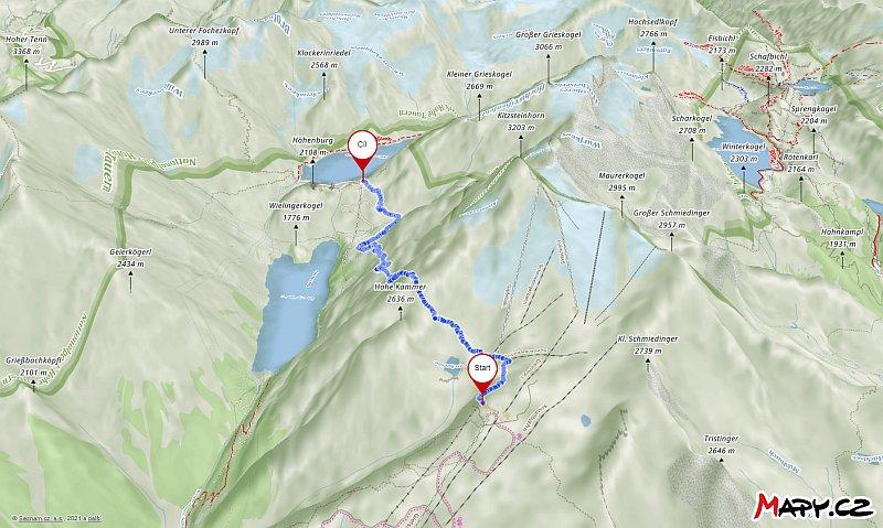 Náhled trasy na mapě